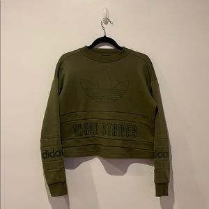 NWT Adidas Olive Green Cropped Sweater SzL